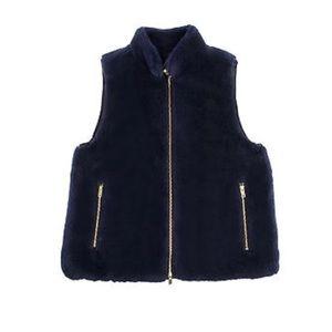 J. CREW Plush Fleece Excursion Vest Navy Blue